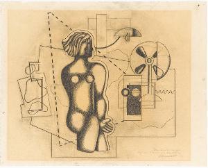 Frauenfigur mit Flügel-Ventilator, 1930