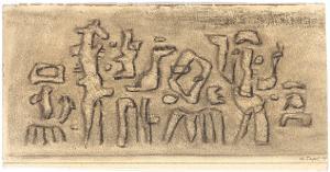 Gilgamesch, Blatt 4: Ihr Wehklagen stieg empor zu den großen Göttern, den Göttern des Himmels, den Herren des heiligen Uruk, 1943