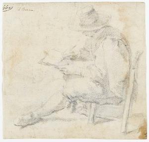 Zeichnender Künstler; Verso: Sitzender männlicher Akt mit übereinandergeschlagenen Beinen, um 1590/1600