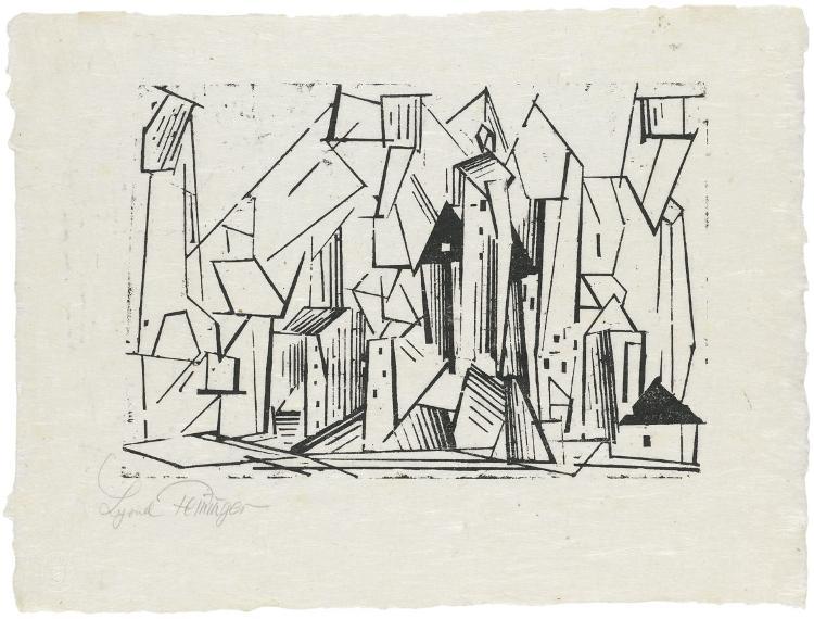 Die Architektur (Blatt 11 in: ZWÖLF HOLZSCHNITTE v. LYONEL FEININGER)