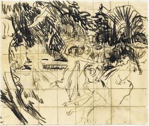 Nausikaa und ihre Frauen flüchten vor Odysseus, 1879-1883