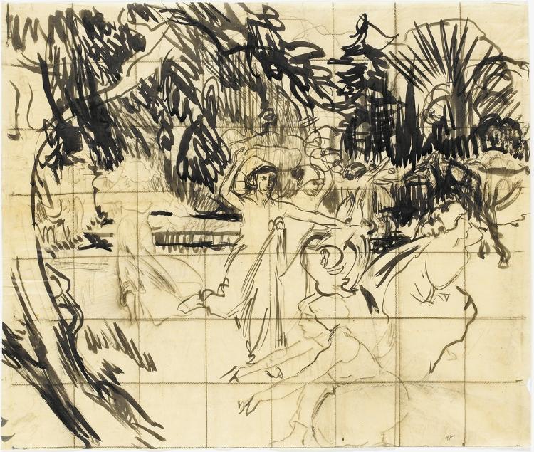 Nausikaa und ihre Frauen flüchten vor Odysseus