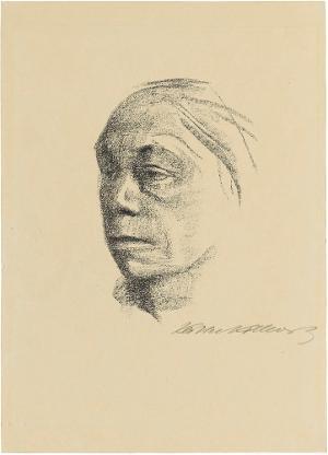 Kleines Selbstbildnis nach links (Blatt 10 in: Künstlerspende für das Deutsche Buchmuseum, Leipzig, November 1922), vor Mitte August 1922