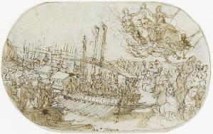 Einschiffung des Bucintoro und Krönung der Venezia durch Fama, um 1580