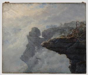 Nebelwolken in der Sächsischen Schweiz, um 1828