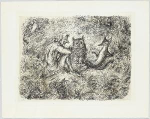 Narr, Eule, Fuchs bei Gespräch im Walde; Verso: Zwei Füchse verabschieden sich voneinander, 1976