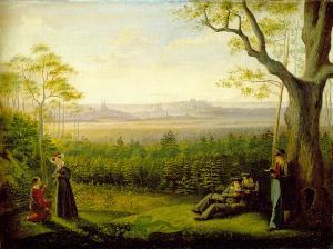 Mädchen u. Jüngling vor einer alten deutschen Stadt, 1. Hälfte 19. Jahrhundert