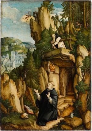 Der Heilige Benedikt als Einsiedler im Gebet, um 1540