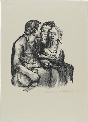 Zwei schwatzende Frauen mit zwei Kindern, 1930
