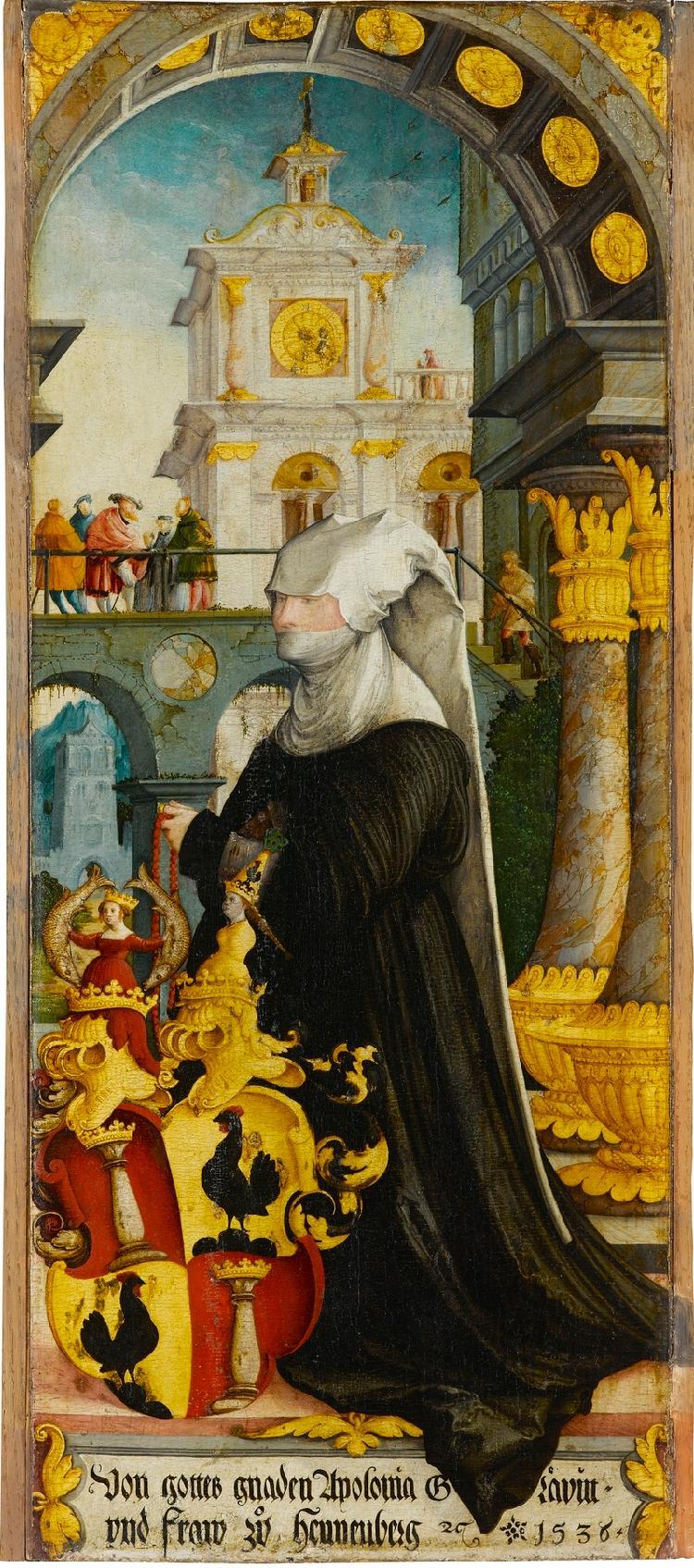 Wildensteiner Altar: Kniende Stifterin Gräfin Apollonia von Zimmern, geb. von Henneberg (Innenseite); Christus am Ölberg (Außenseite)