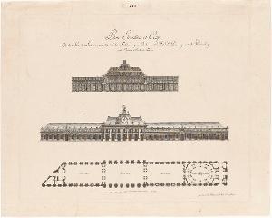 Grundriss, Ansicht und Schnitt des Lorbeersaals in Schloss Solitude (Plan, Elevation et Coupe De La Salle de Lauriers, construite à la Solitude), 1785