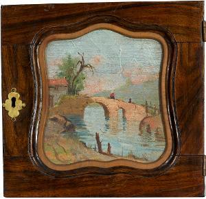 Landschaft mit Brücke (kleine Schranktür mit eingefasstem Ölbild), nicht datiert
