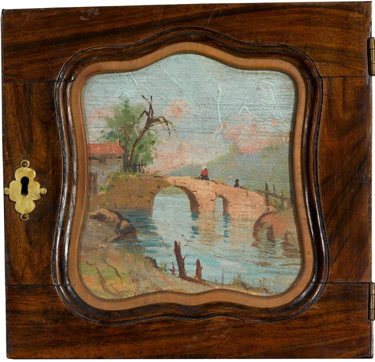 Landschaft mit Brücke (kleine Schranktür mit eingefasstem Ölbild)