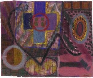 Auf Violett mit Kreuzform, 1959