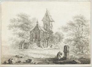 Landschaft mit Kirche und betendem Mönch vor einem Bildstock, um 1800
