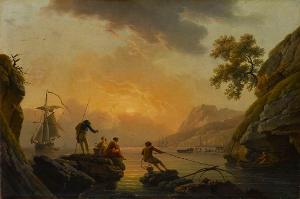 Hafenansicht mit Fischern bei Sonnenuntergang, um 1780/89