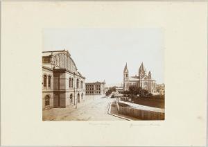 Baugewerkschule und Garnisonskirche in Stuttgart, um 1876