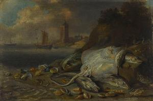 Fische und Muscheln am Strand, 1660