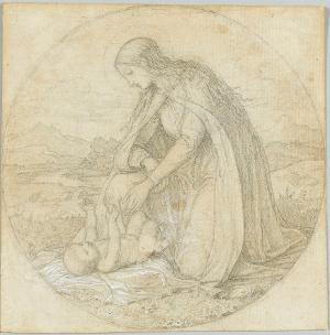Maria in Landschaft vor ihrem Kind kniend; Verso: Skizze zu einer Anbetung der Könige, um 1850/60