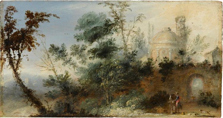 Landschaft mit verfallender Architektur und einem Reiter