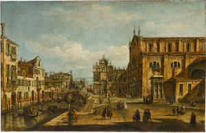 Vedute mit dem Campo Santi Giovanni e Paolo in Venedig, 18. Jahrhundert