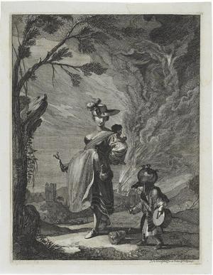 Marketenderin mit Kindern (»Variae Capryc:«, 1661), 1661