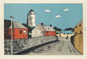 Häuser am Hafen mit Leuchtturm, 1950