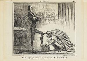 Monsieur Hume erlaubt sich die Phantasie, dass ihm Julius Cäsar die Schuhe putzt (Le Charivari, 17.04.1857), 1857