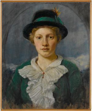 Damenporträt C. B., Die Schwester des Künstlers in Tiroler Hütchen, nicht datiert