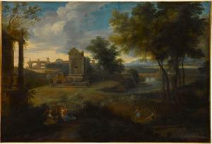 Landschaft bei Abendlicht mit der Heiligen Familie, 2. Hälfte 17. Jh.