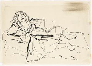 Studie zur Frau in Blau; Verso: Kopfstudie, 1919