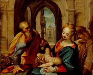 Die Heilige Familie mit einem Engel, um 1600