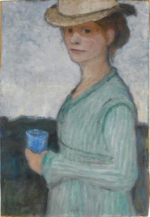 Selbstbildnis mit blauem Glas, um 1902