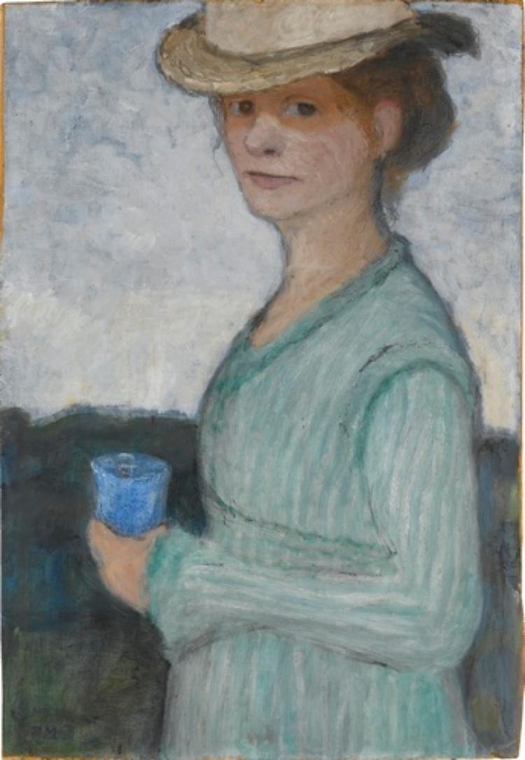 Selbstbildnis mit blauem Glas