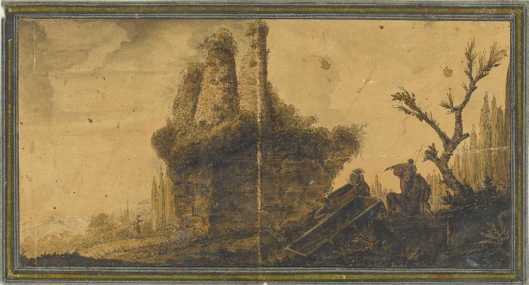 Ruinenlandschaft mit Grabaushebung