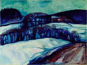 Das rote Haus im Schnee, um 1925-1926
