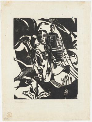 Begebenheiten (Mädchen mit Fisch und Vögeln), 1920