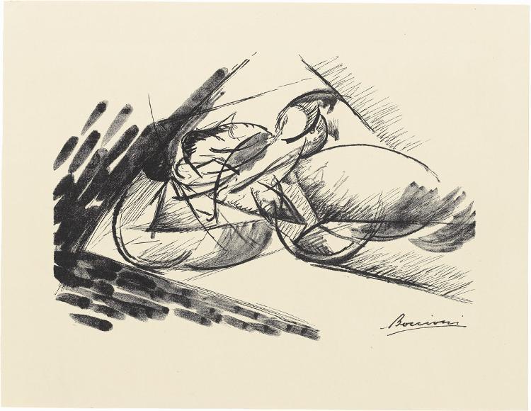 Schnelligkeit (Dinamismo di un ciclista) (Blatt 2 in: Bauhaus-Drucke. 4te Mappe)