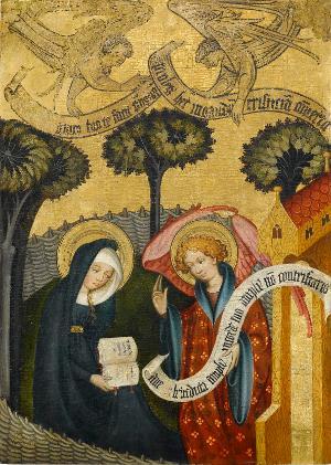 Sogenannter Ulmer Hochaltar: Die Verkündigung der Geburt Mariens an die Heilige Anna, um 1400