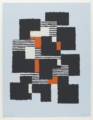 Komposition in Schwarz-Weiß-Rot auf blauem Grund, 1963