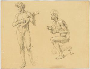 Nackter Mandolinenspieler und kniender männlicher Akt, um 1870/80