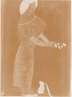 Gefühlvolle Dame, Halbakt mit übergrossem Busen., 1906