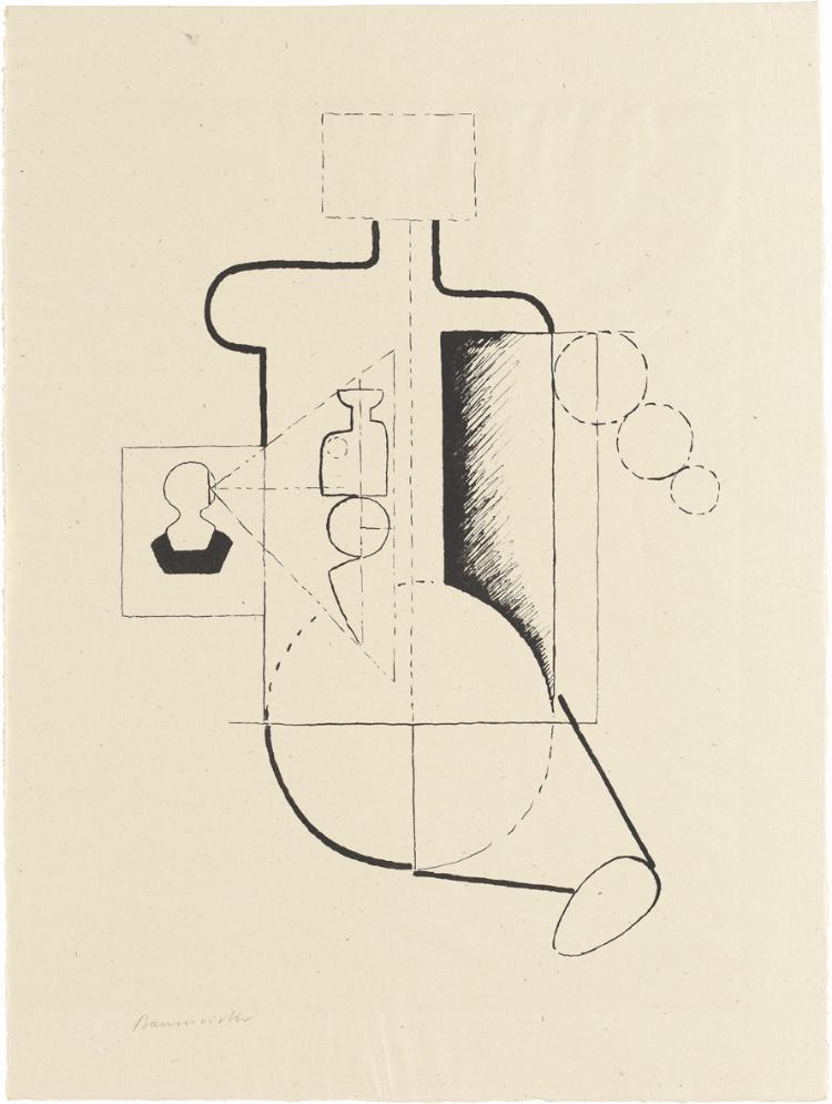 Sitzende Figur (Visieren) (Blatt 2 in: Bauhaus-Drucke. 3te Mappe)