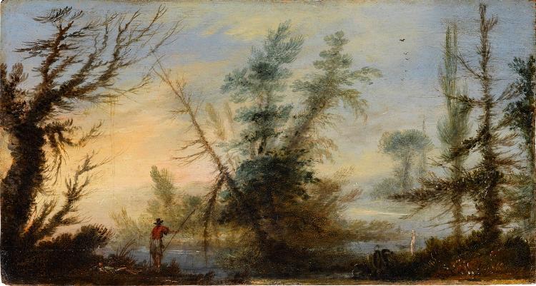 Landschaft mit bizarren Bäumen und einem Angler