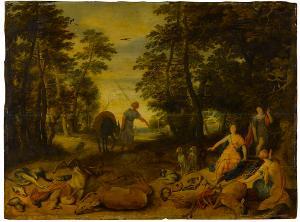 Waldlandschaft mit Diana und ihren Nymphen, 1. Hälfte 17. Jh.
