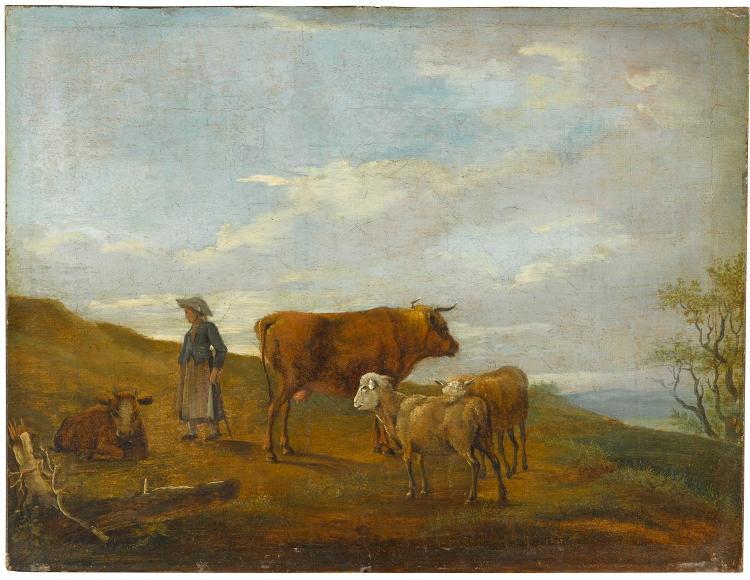 Hirten mit Kühen und Schafen