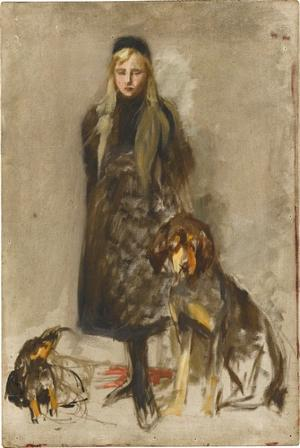 Mädchen mit zwei Hunden, nicht datiert