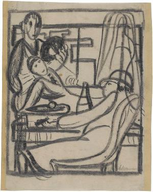 Zwei am Tisch sitzende Figuren, eine stehende Figur, 1922