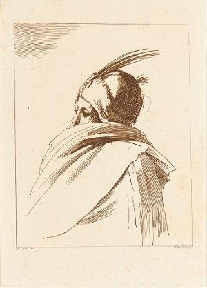 Mann mit Kopfbedeckung und Umhang, um 1777