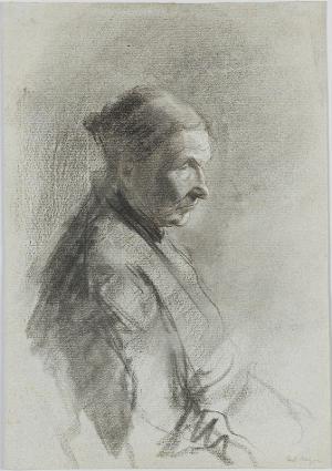 Halbfigur einer alten Frau im Profil nach rechts, nicht datiert